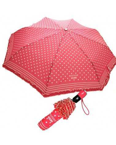 Umbrella MOSCHINO Boutique Coral pink with dots and ruches 7108