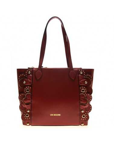 Love Moschino borsa in vera pelle rossa con fiori 4133 Bag