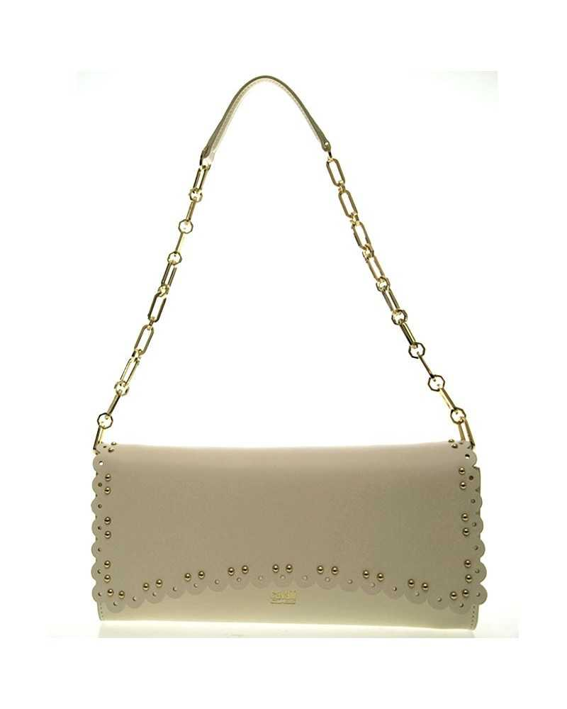 ROBERTO CAVALLI CLASS сlutch shoulder bag leather ivory beige tasche Leolace001