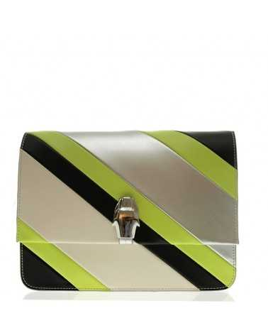 Roberto Cavalli Class mini shoulder bag black silver lime handbag leather Milano 003