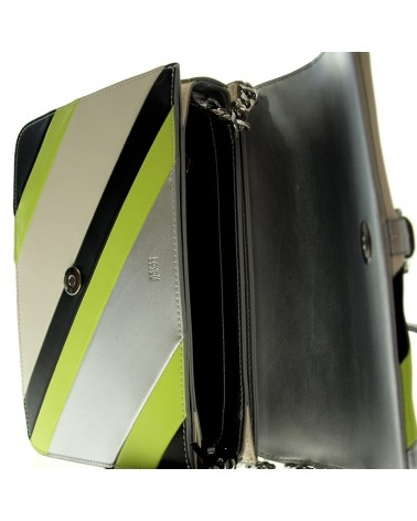 Roberto Cavalli Class mini shoulder bag black silver lime handbag leather Milano 003 Tasche