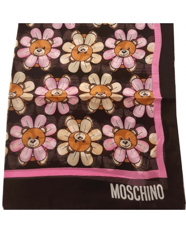 MOSCHINO long silk scarf foulard black pink teddy bear toy 03520-1987