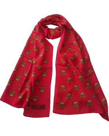 MOSCHINO soft long scarf with teddy bear toy red stole 50111-5217