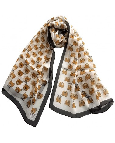 MOSCHINO long silk scarf foulard white and black teddy bear 03520-1990