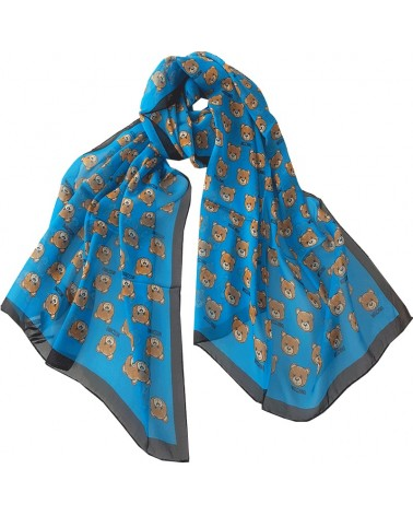 MOSCHINO long silk scarf black-blue logo 03520