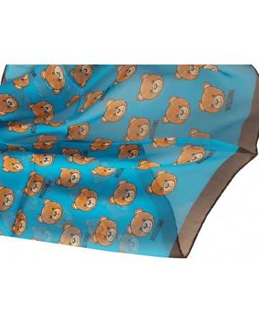 MOSCHINO long silk scarf foulard blue and black teddy bear 03520-1990
