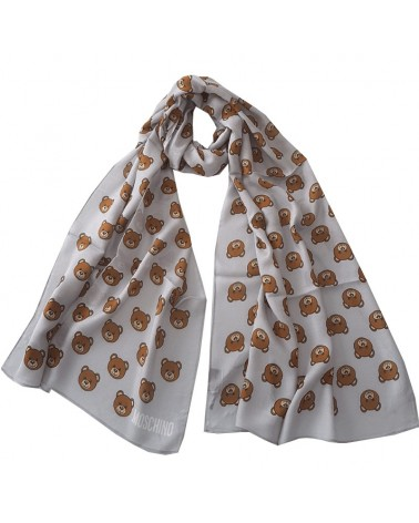 MOSCHINO soft long scarf with teddy bear toy gray stole 50111-5217