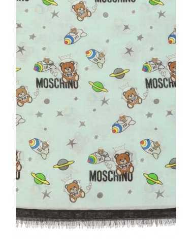 MOSCHINO scarf with teddy bear toy light blue2180
