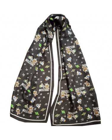 MOSCHINO soft long scarf with teddy bear toy black stole 50111-5217