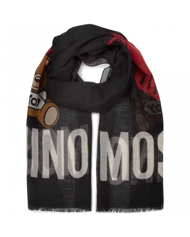 MOSCHINO wool scarf with logo print black unisex 5137