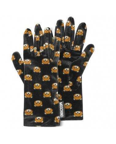 MOSCHINO black velvet Teddy print gloves 2121