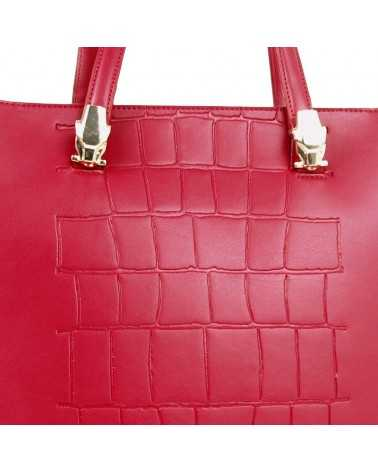Tote bag ROBERTO CAVALLI CLASS Red genuine leather Panthera 007 Handbag Tasche